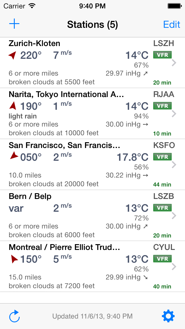 AeroWeather Lite List View